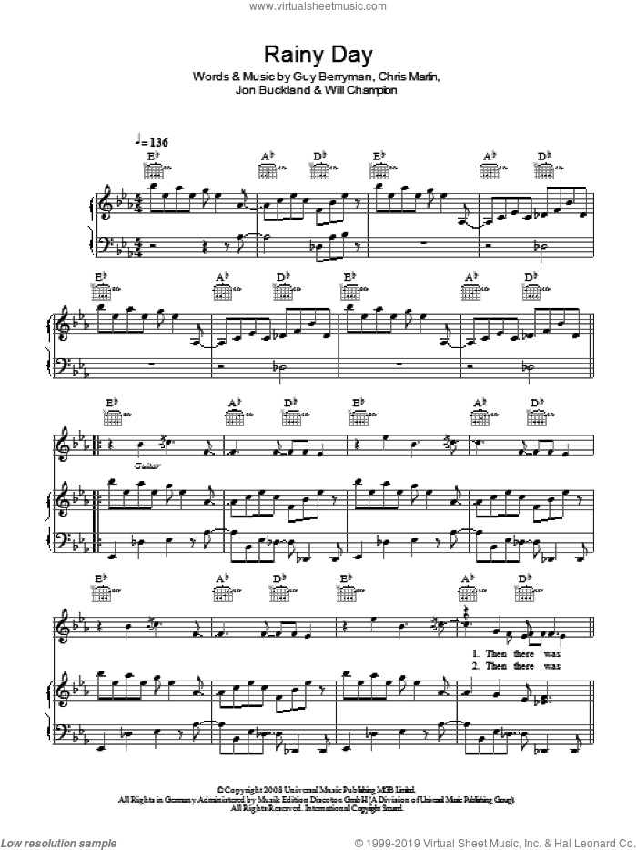 Rainy Day sheet music for voice, piano or guitar by Coldplay, Chris Martin, Guy Berryman, Jon Buckland and Will Champion, intermediate skill level