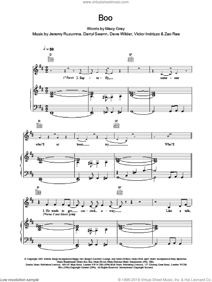 Boo sheet music for voice, piano or guitar by Macy Gray. Score Image Preview.