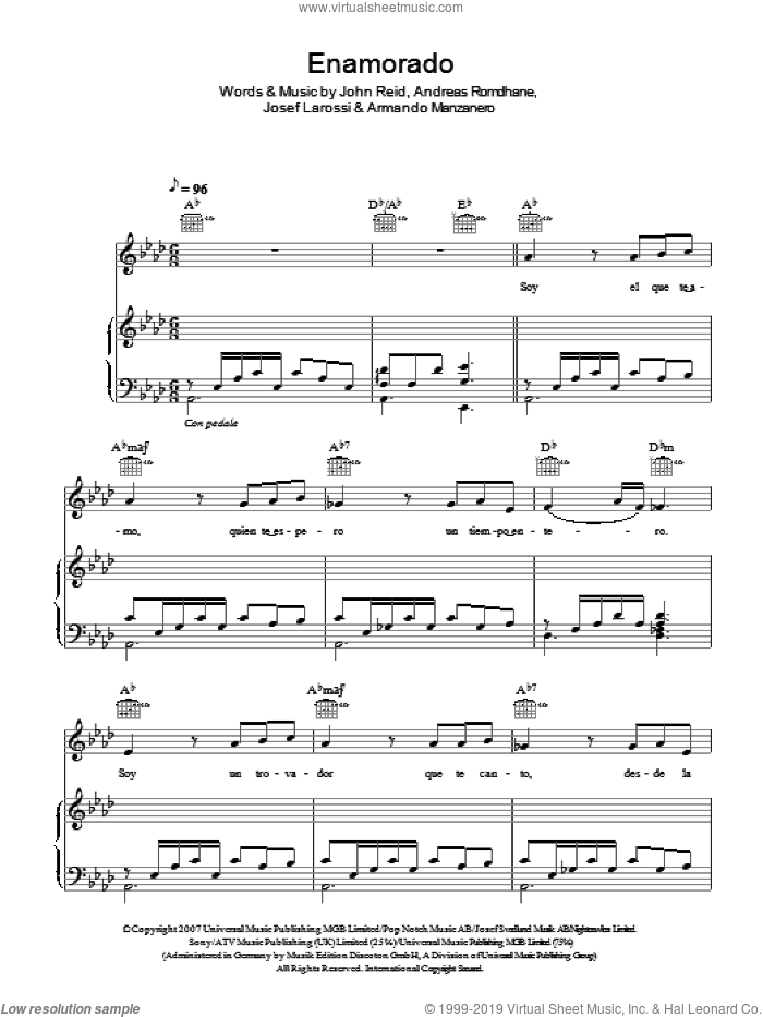 Enamorado sheet music for voice, piano or guitar by Andreas Romdhane