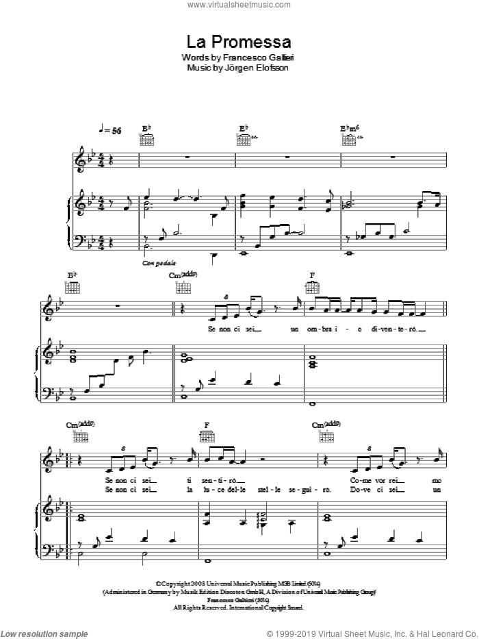 Divo la promessa sheet music for voice piano or guitar - Il divo la promessa ...