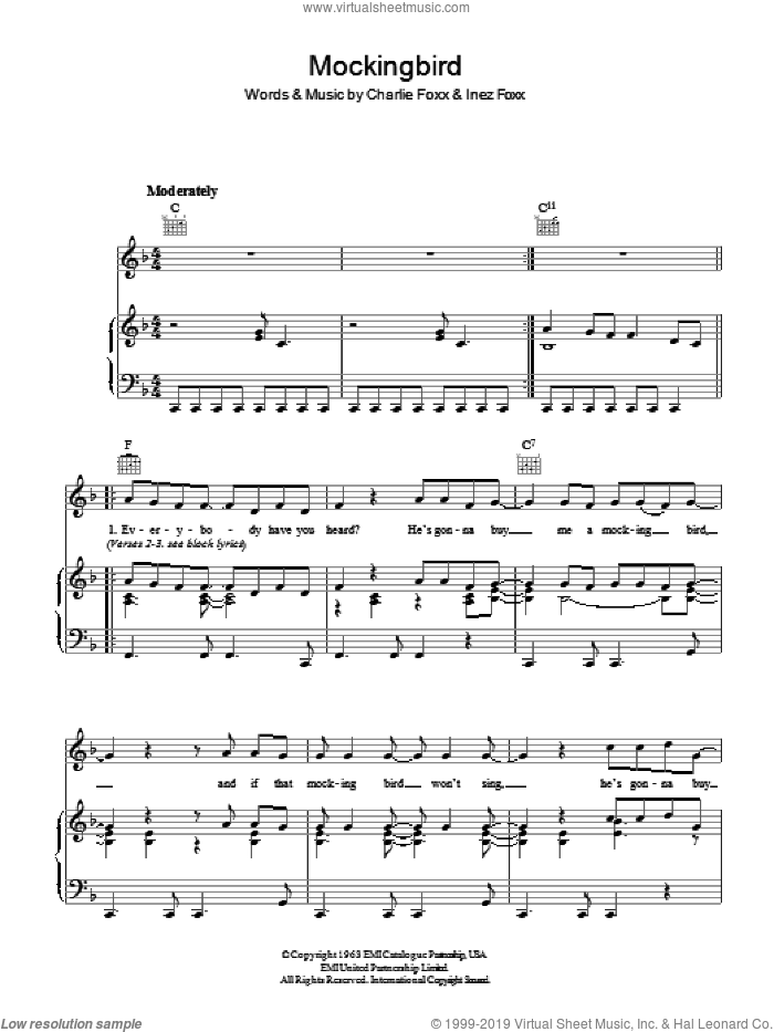 Mockingbird sheet music for voice, piano or guitar by Charlie Foxx