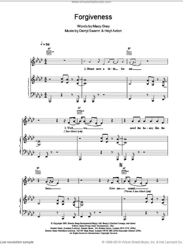 Forgiveness sheet music for voice, piano or guitar by Macy Gray. Score Image Preview.