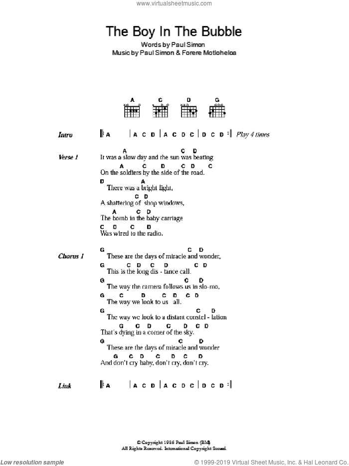 The Boy In The Bubble sheet music for guitar (chords, lyrics, melody) by Forere Motloheloa