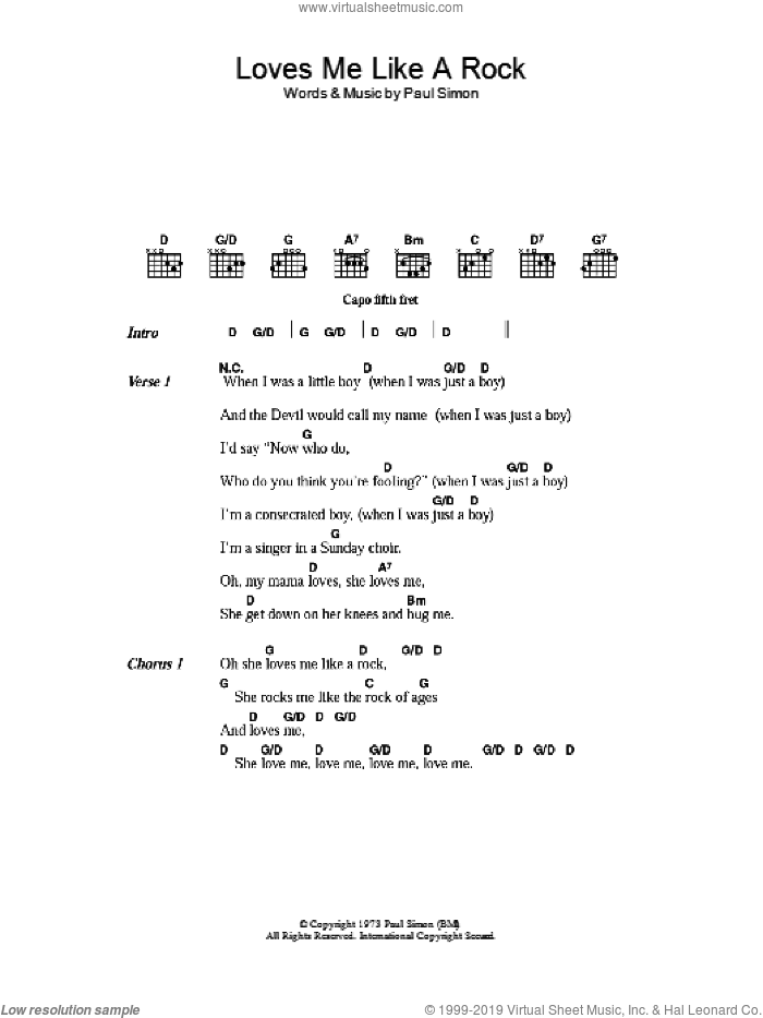 Loves Me Like A Rock sheet music for guitar (chords) by Paul Simon. Score Image Preview.