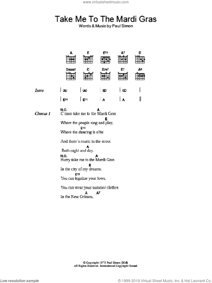 Take Me To The Mardi Gras sheet music for guitar (chords) by Paul Simon. Score Image Preview.