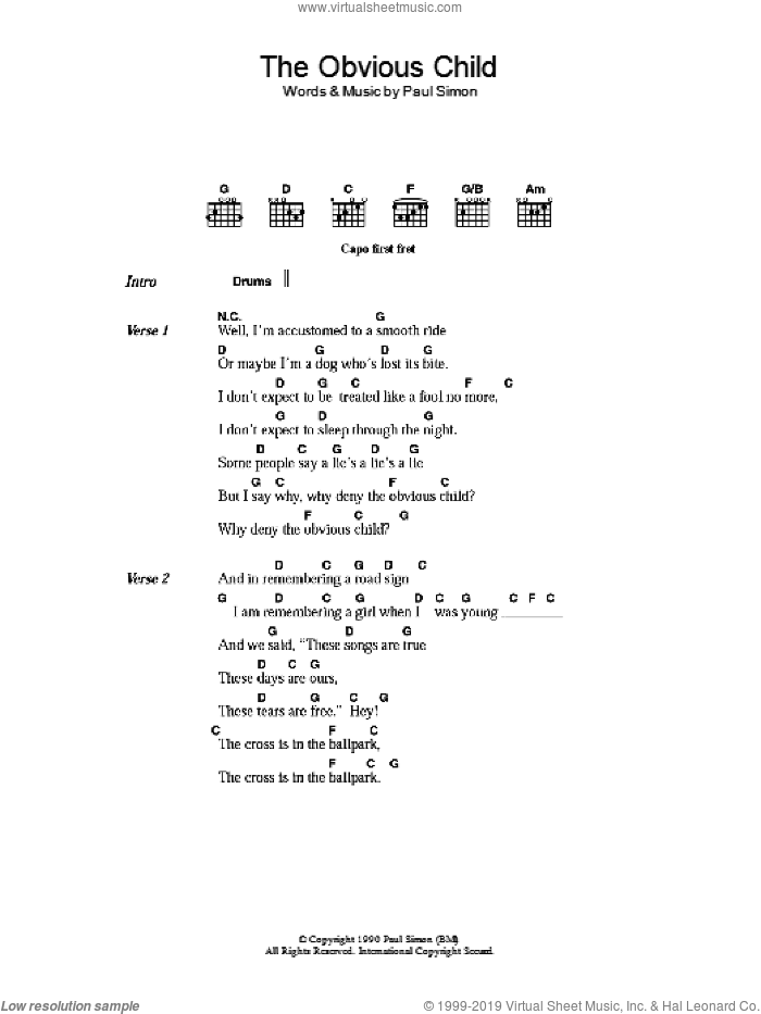 The Obvious Child sheet music for guitar (chords) by Paul Simon