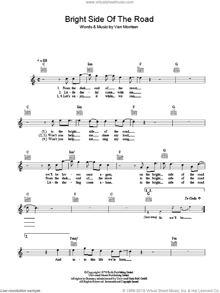 Bright Side Of The Road sheet music for voice and other instruments (fake book) by Van Morrison. Score Image Preview.