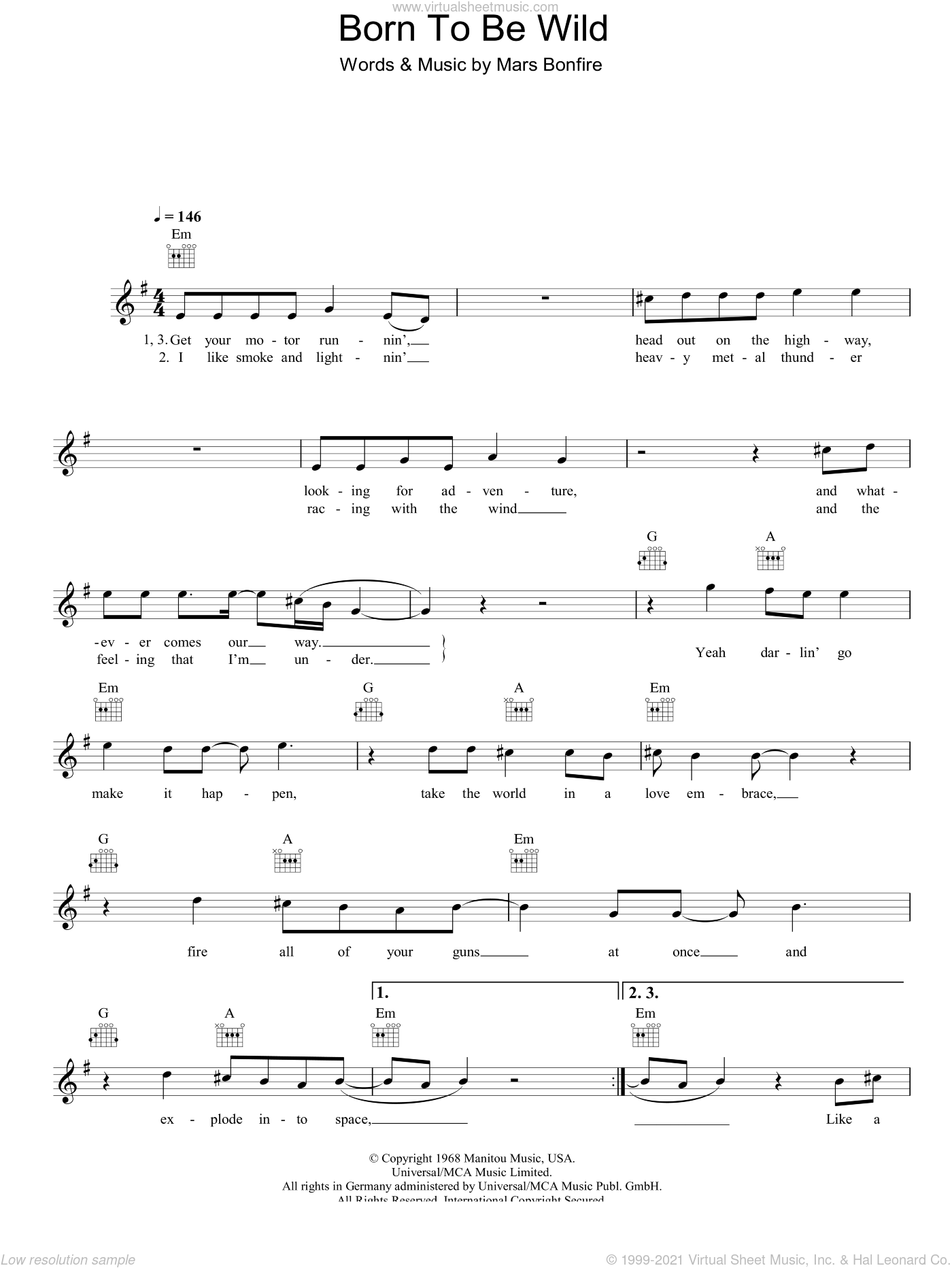 Born To Be Wild sheet music for voice and other instruments (fake book) by Steppenwolf and Mars Bonfire, intermediate skill level