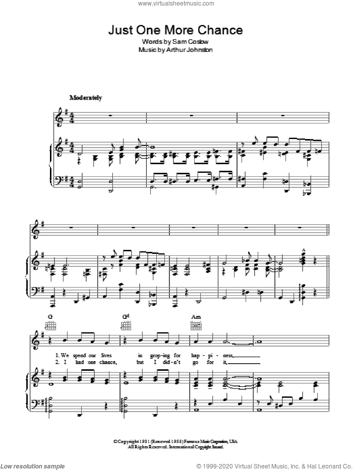Just One More Chance sheet music for voice, piano or guitar by Arthur Johnston