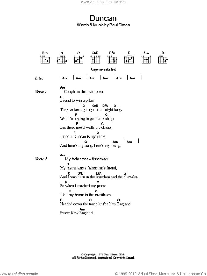 Duncan sheet music for guitar (chords) by Paul Simon, intermediate. Score Image Preview.