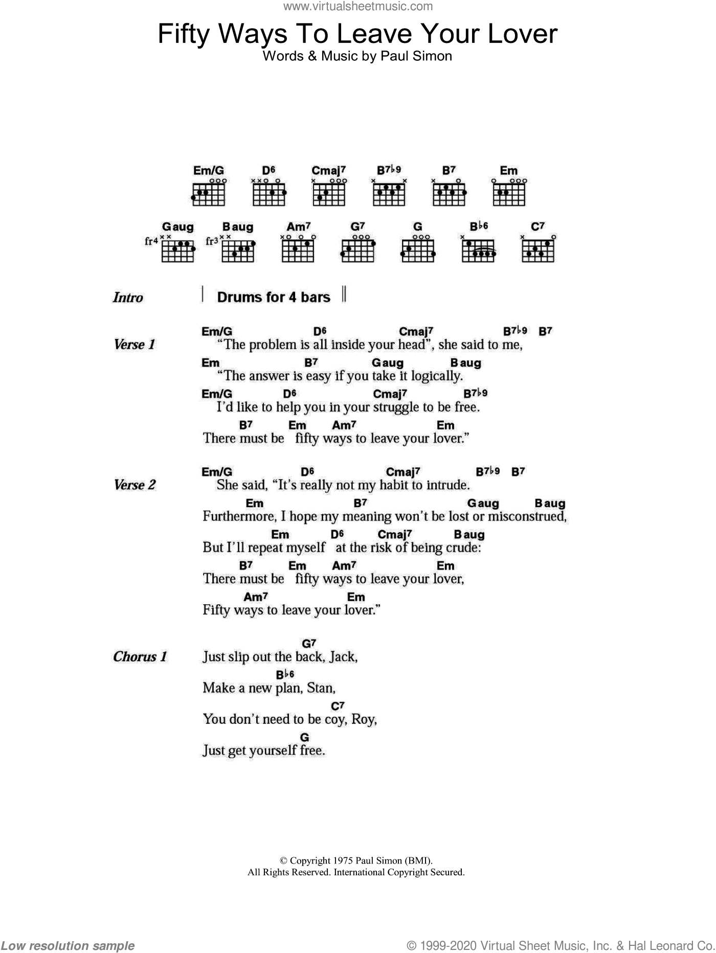 Fifty Ways To Leave Your Lover sheet music for guitar (chords) by Paul Simon, intermediate guitar (chords). Score Image Preview.