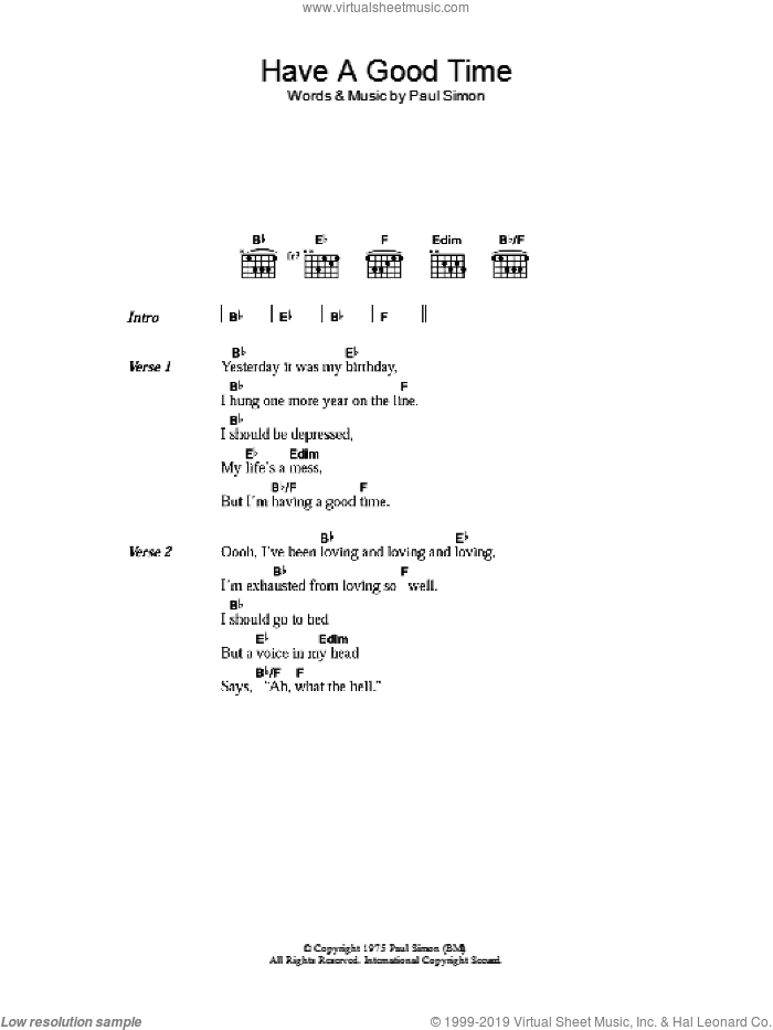 Have A Good Time sheet music for guitar (chords) by Paul Simon, intermediate. Score Image Preview.