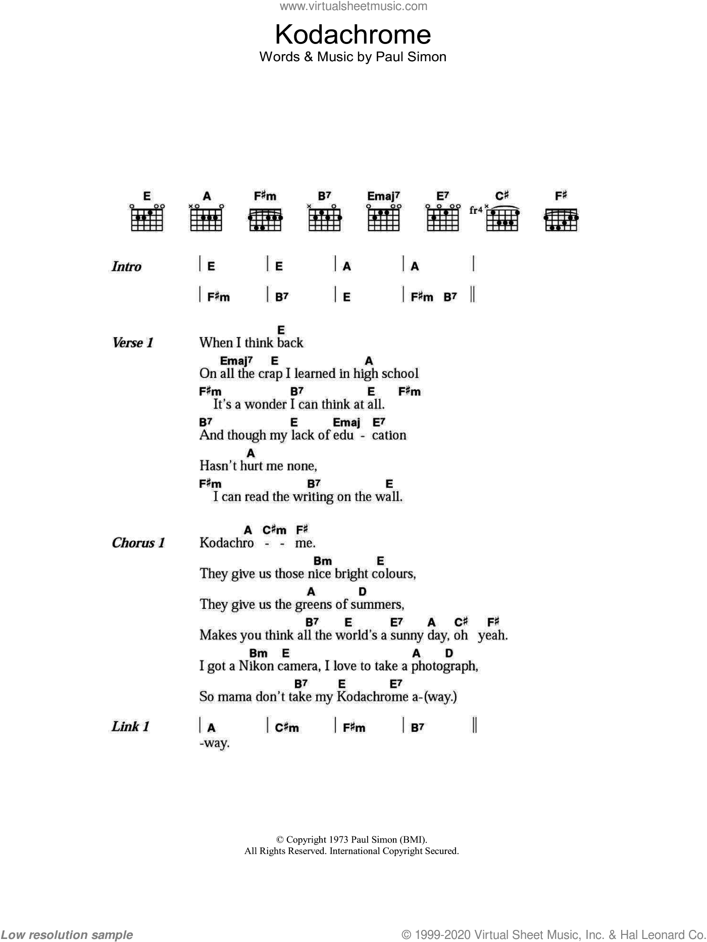 Simon - Kodachrome sheet music for guitar (chords) [PDF]