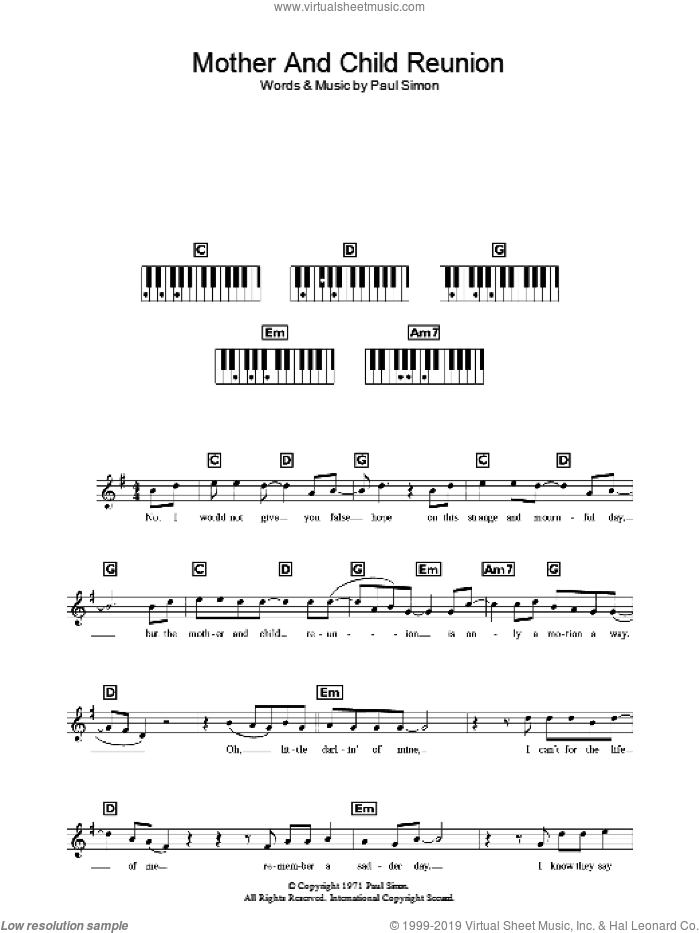 Mother And Child Reunion sheet music for voice and other instruments (fake book) by Paul Simon, intermediate. Score Image Preview.