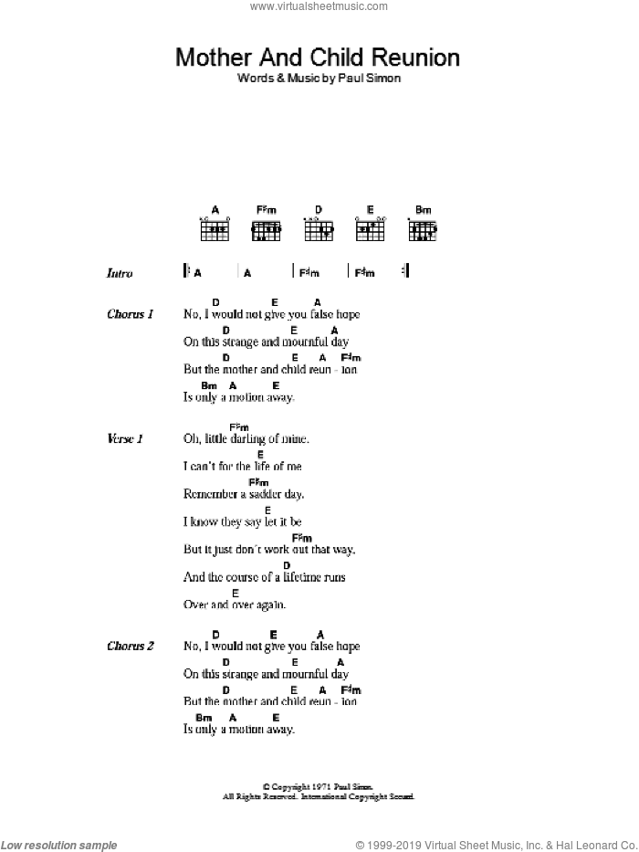 Mother And Child Reunion sheet music for guitar (chords) by Paul Simon, intermediate guitar (chords). Score Image Preview.