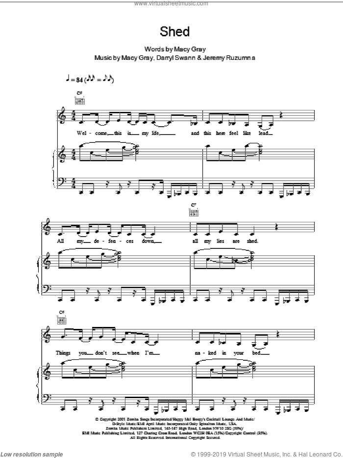 Shed sheet music for voice, piano or guitar by Macy Gray, intermediate skill level