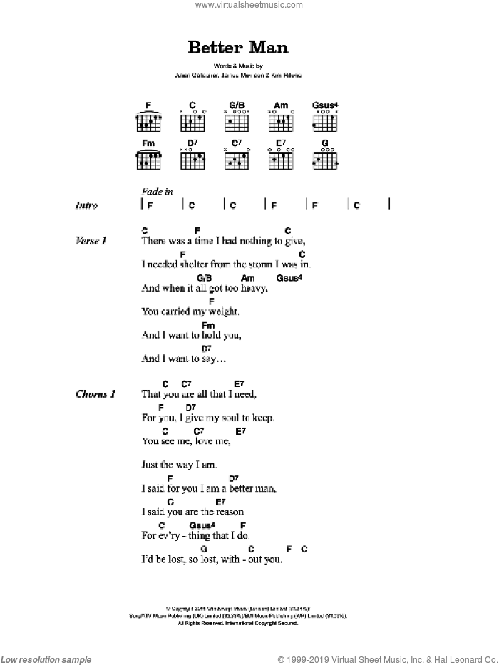Better Man sheet music for guitar (chords) by James Morrison. Score Image Preview.