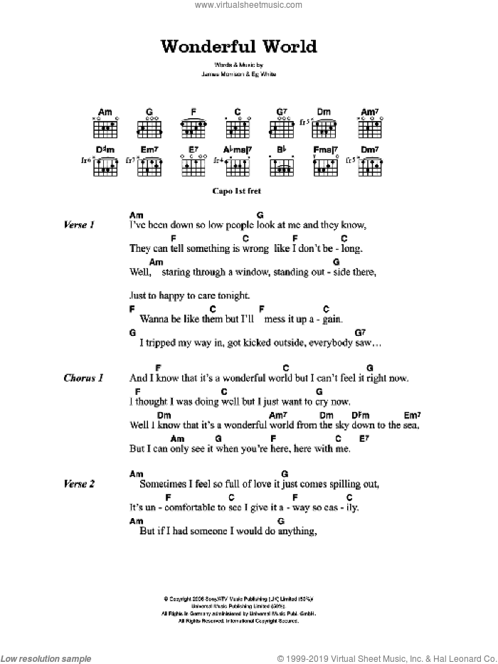 Wonderful World sheet music for guitar (chords) by James Morrison and Eg White, intermediate skill level