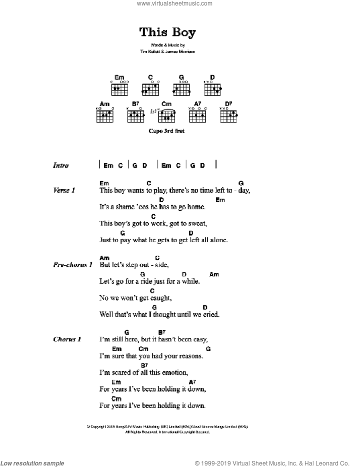 This Boy sheet music for guitar (chords) by Tim Kellett and James Morrison. Score Image Preview.