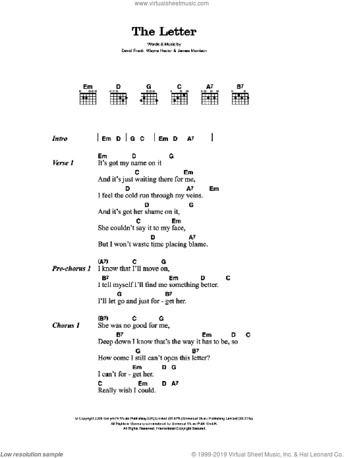 The Letter sheet music for guitar (chords) by James Morrison, David Frank and Wayne Hector, intermediate skill level