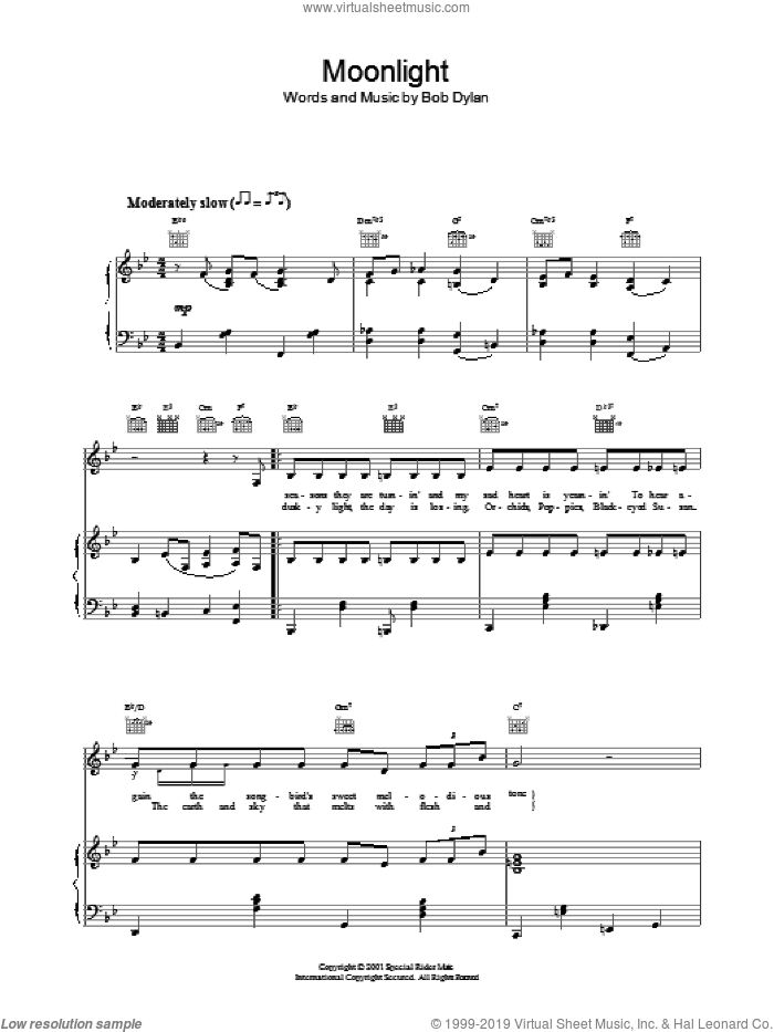 Moonlight sheet music for voice, piano or guitar by Bob Dylan, intermediate voice, piano or guitar. Score Image Preview.