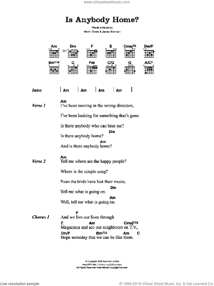 Is Anybody Home? sheet music for guitar (chords) by Martin Terefe