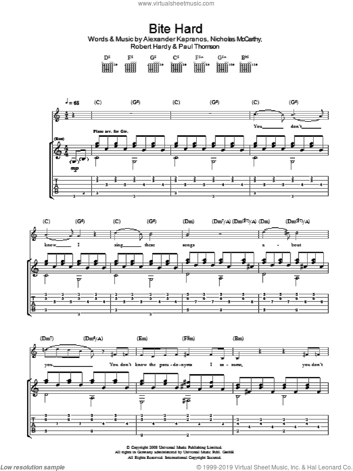 Bite Hard sheet music for guitar (tablature) by Franz Ferdinand, intermediate guitar (tablature). Score Image Preview.