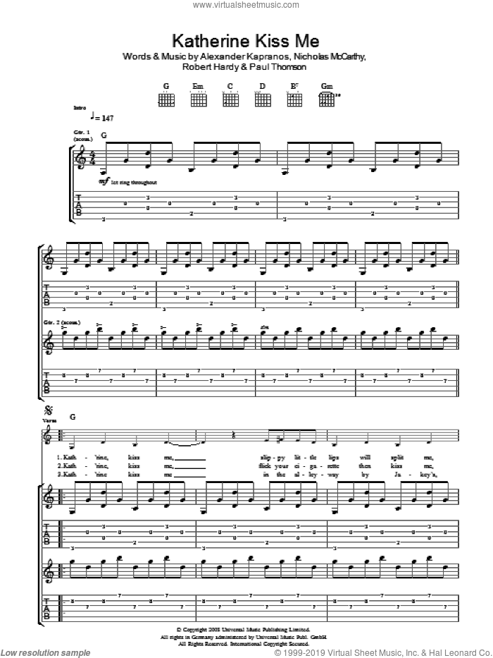 Katherine Kiss Me sheet music for guitar (tablature) by Franz Ferdinand, Alexander Kapranos, Nicholas McCarthy, Paul Thomson and Robert Hardy, intermediate skill level