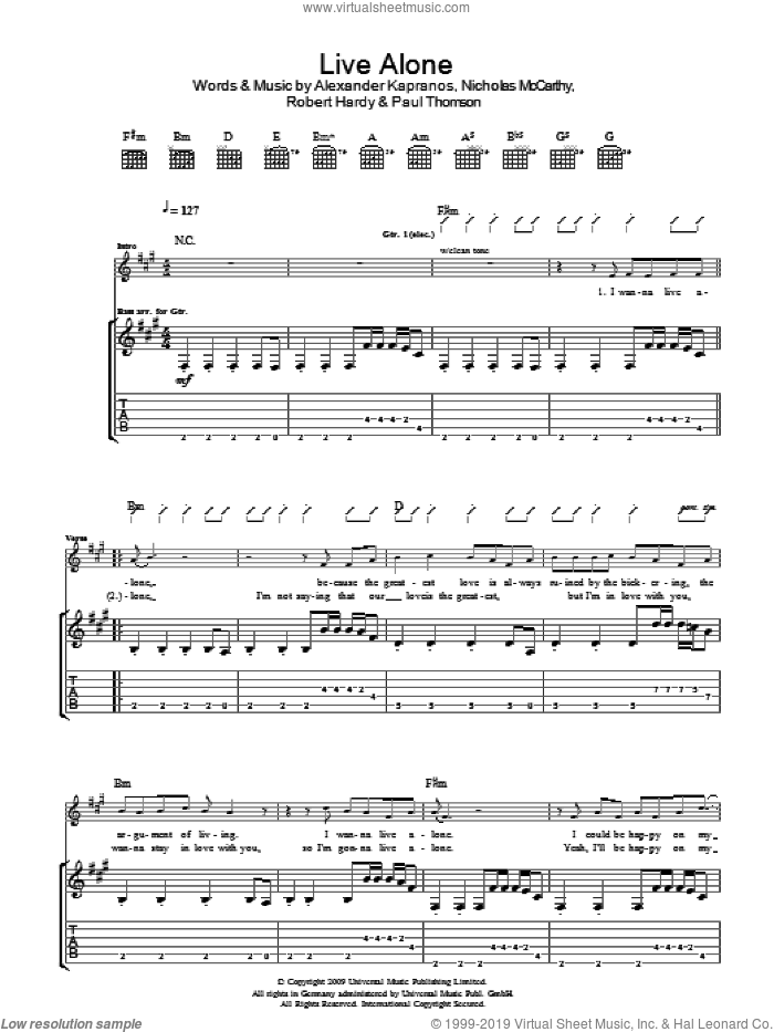 Live Alone sheet music for guitar (tablature) by Franz Ferdinand, Alexander Kapranos, Nicholas McCarthy, Paul Thomson and Robert Hardy, intermediate