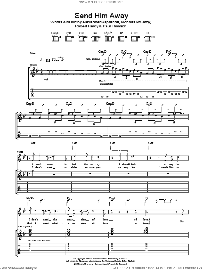 Send Him Away sheet music for guitar (tablature) by Alexander Kapranos, Franz Ferdinand, Nicholas McCarthy and Robert Hardy. Score Image Preview.