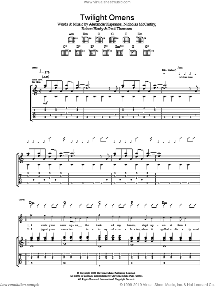 Twilight Omens sheet music for guitar (tablature) by Franz Ferdinand, Alexander Kapranos, Nicholas McCarthy, Paul Thomson and Robert Hardy, intermediate