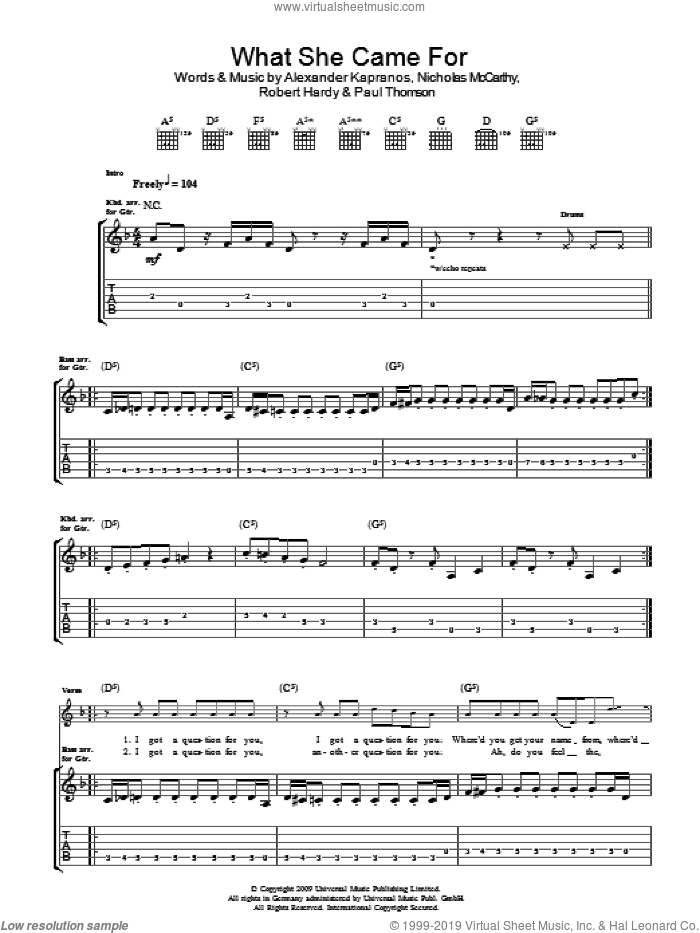 What She Came For sheet music for guitar (tablature) by Alexander Kapranos, Franz Ferdinand, Nicholas McCarthy and Robert Hardy. Score Image Preview.