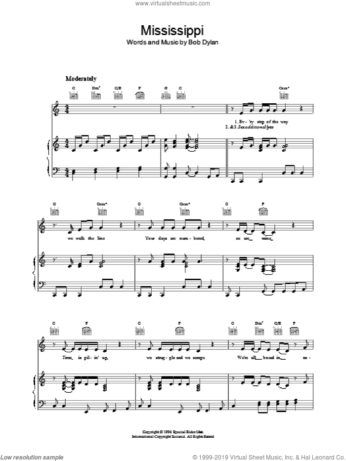 Mississippi sheet music for voice, piano or guitar by Bob Dylan