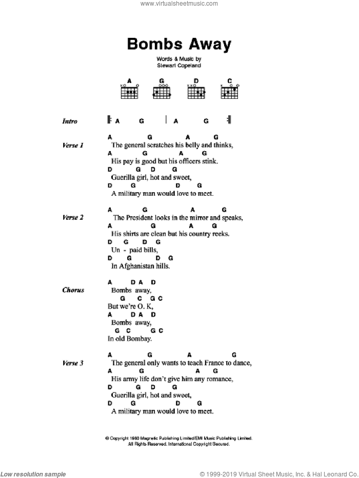 Bombs Away sheet music for guitar (chords) by The Police and Stewart Copeland, intermediate skill level