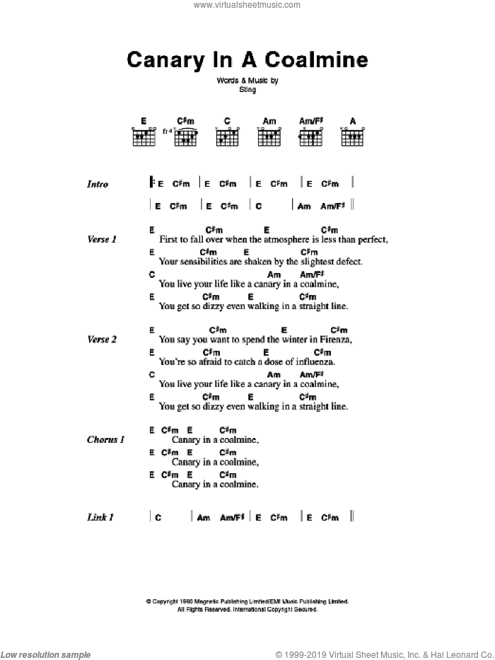 Canary In A Coalmine sheet music for guitar (chords) by The Police and Sting, intermediate skill level