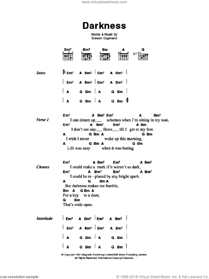 Police Darkness Sheet Music For Guitar Chords Pdf