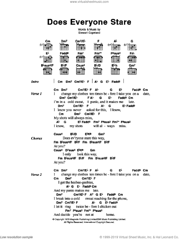 Does Everyone Stare sheet music for guitar (chords, lyrics, melody) by Stewart Copeland