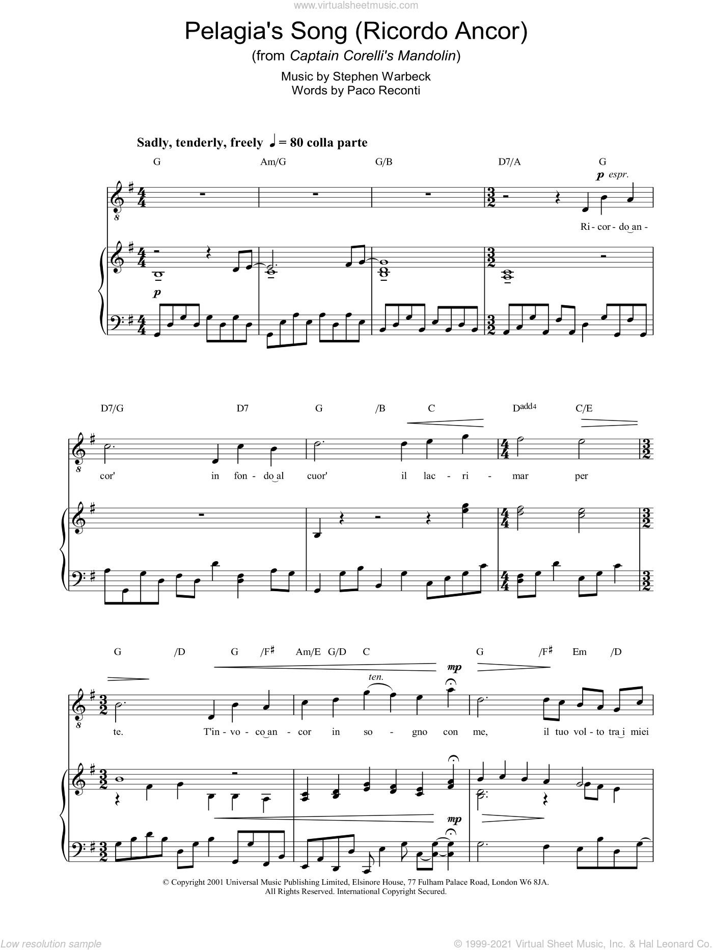 Pelagia's Song sheet music for voice, piano or guitar by Stephen Warbeck, intermediate. Score Image Preview.