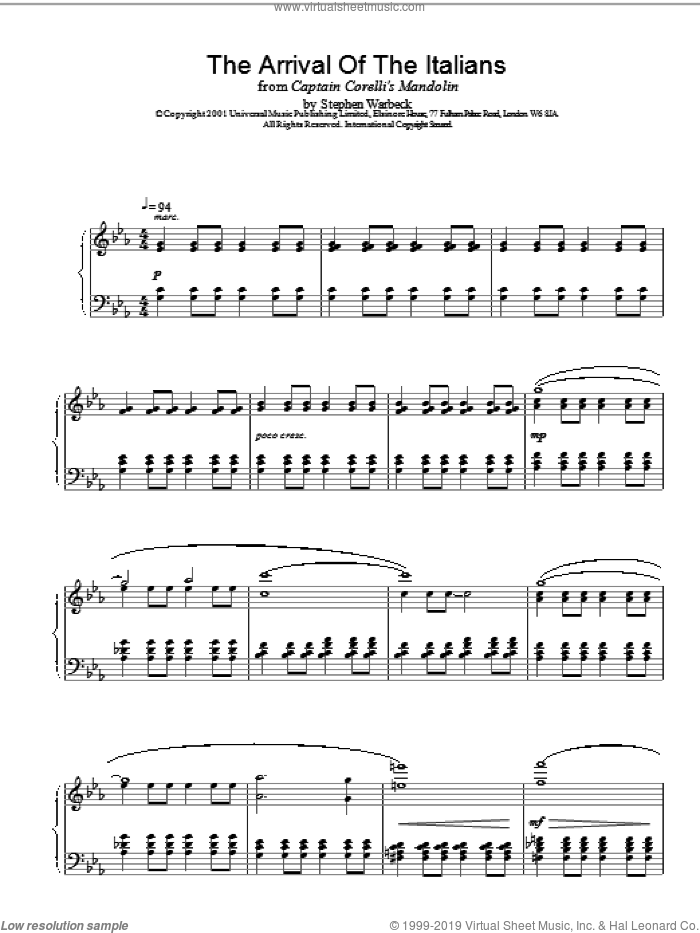 The Arrival Of The Italians sheet music for piano solo by Stephen Warbeck, intermediate skill level