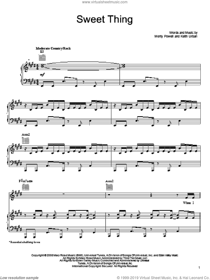 Sweet Thing sheet music for voice, piano or guitar by Monty Powell and Keith Urban. Score Image Preview.