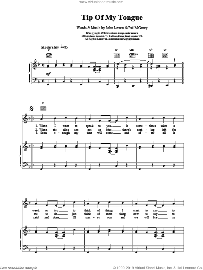 Tip Of My Tongue sheet music for voice, piano or guitar by The Beatles, intermediate
