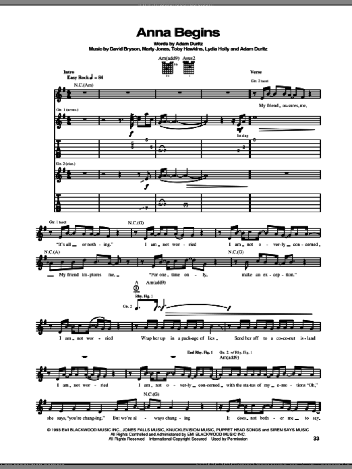 Anna Begins sheet music for guitar (tablature) by Counting Crows, Adam Duritz, David Bryson, Lydia Holly, Marty Jones and Toby Hawkins, intermediate skill level