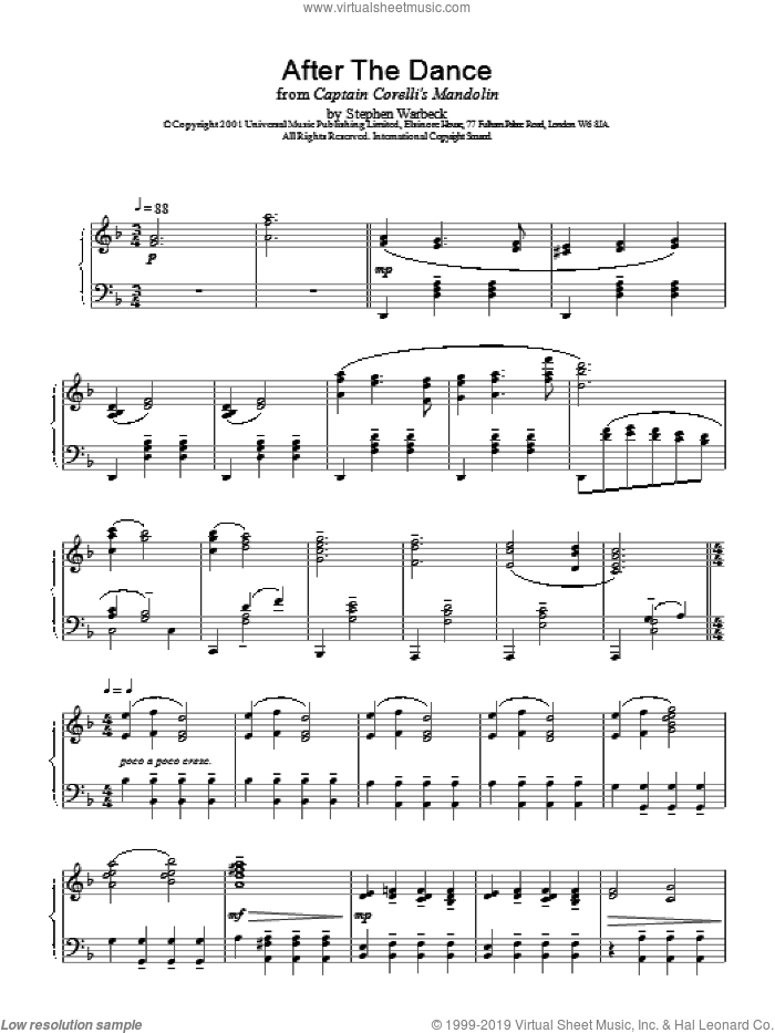 After The Dance sheet music for piano solo by Stephen Warbeck, intermediate skill level