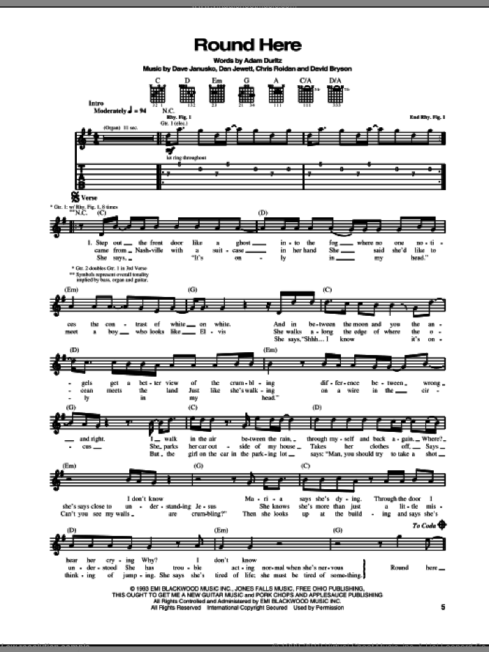 Round Here sheet music for guitar (tablature) by David Bryson, Counting Crows, Adam Duritz and Dan Jewett. Score Image Preview.
