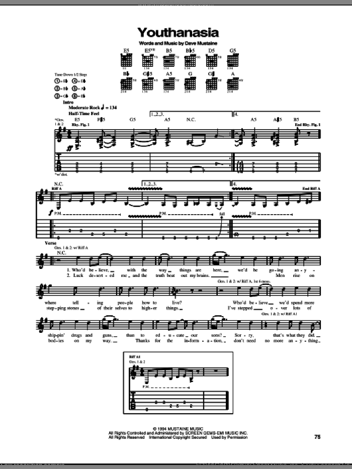 Youthanasia sheet music for guitar (tablature) by Nick Menza, Megadeth and Dave Mustaine. Score Image Preview.