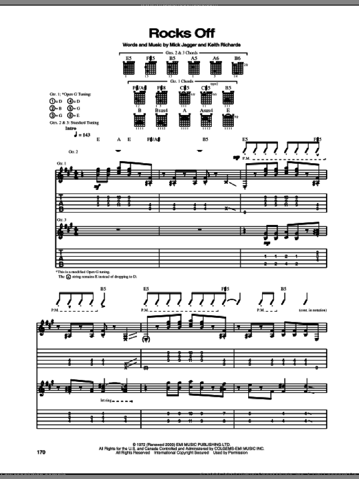 Rocks Off sheet music for guitar (tablature) by The Rolling Stones, Keith Richards and Mick Jagger. Score Image Preview.