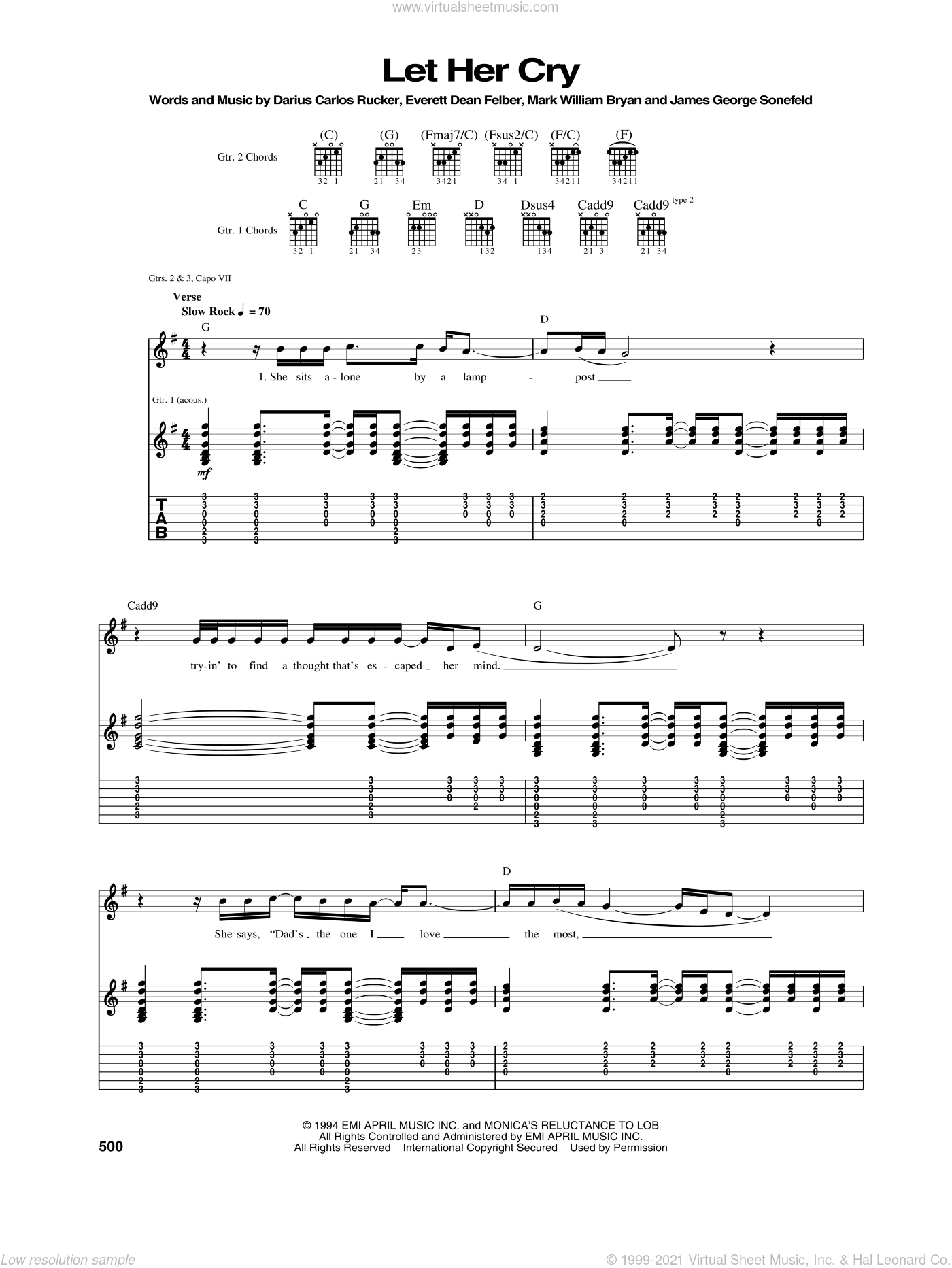 Let Her Cry sheet music for guitar (tablature) by Hootie & The Blowfish. Score Image Preview.
