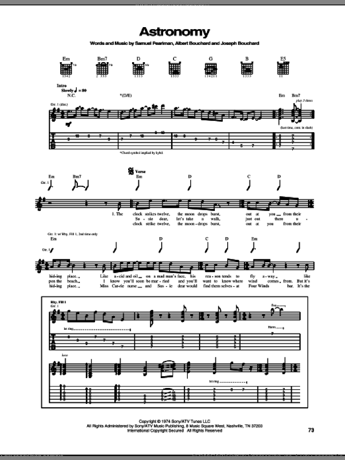 Astronomy sheet music for guitar (tablature) by Samuel Pearlman