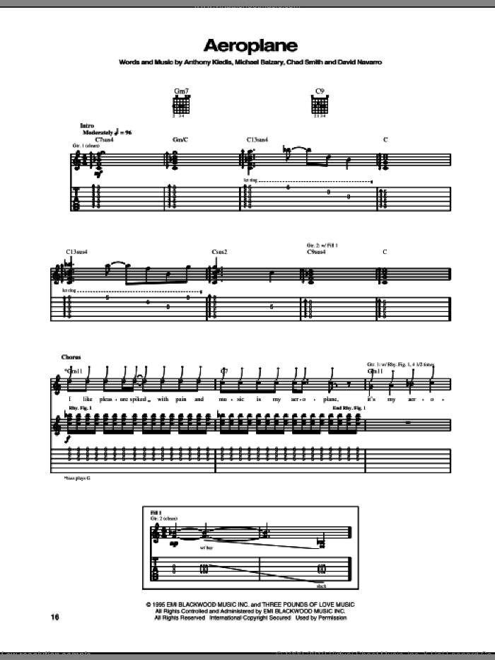 Aeroplane sheet music for guitar (tablature) by Flea, Red Hot Chili Peppers and David Navarro. Score Image Preview.