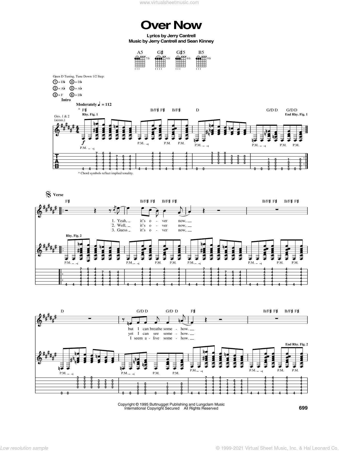 Over Now sheet music for guitar (tablature) by Alice In Chains, Jerry Cantrell and Sean Kinney, intermediate. Score Image Preview.